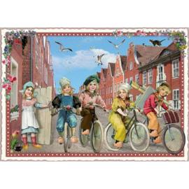 Fietsen in Holland glitterkaart