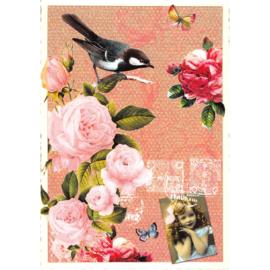 Vogel en rozen glitterkaart