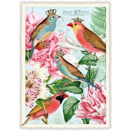 Koninklijke vogels glitterkaart