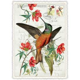 Vogel met rode bloemen kaart