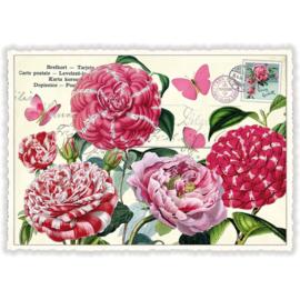 Rozerode  bloemen glitterkaart