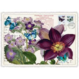 Passiebloem en vlinders glitterkaart