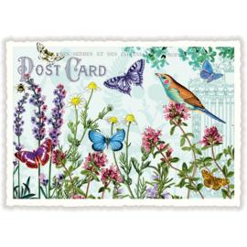Vlinders en vogel glitterkaart