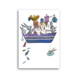 Konijnen in een boot