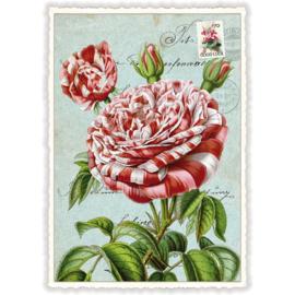 Roodwitte pioenrozenkaart met glitter