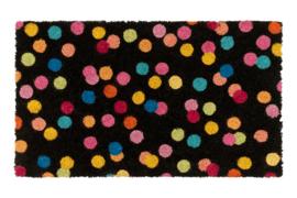 Deurmat Confetti  zwart - Kitsch Kitchen