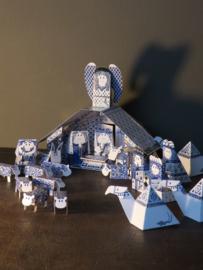 Delftsblauwe Kerststal- Piet Design