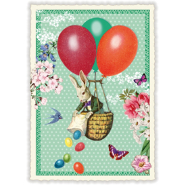 Paaskaart - konijn in een luchtballon met glitters