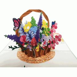 Mandje met bloemen en vlinders pop-up kaart