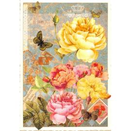 Gele roos glitterkaart
