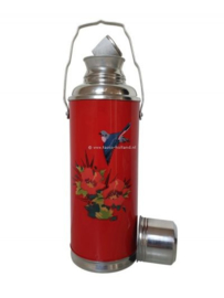 Thermoskan rood - Bloemen en vogel