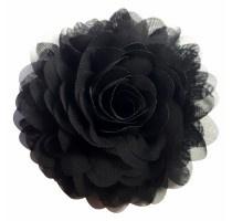 Chiffon bloemcorsage - Black
