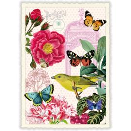 Gele vogel en vlinders glitterkaart