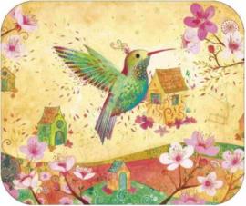 Kolibri en huisjes kaart