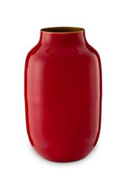 Pip Studio Ovale vaas metaal rood