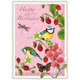 Happy birthday koolmeesjes glitterkaart