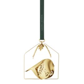 CHRISTMAS mobile winter bird - gold plated brass