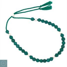 Green Jade silk armband (zilver)