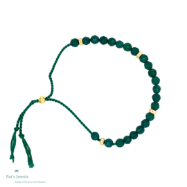 Nature green silk armbandje (goud)