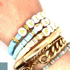 Goud naam armband, verguld goud