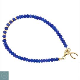 Blauw natuursteen armband met wishbone