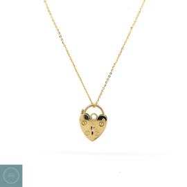 9 karaat Padlock heart met ketting
