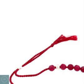 Rood Jade silk armband (zilver)