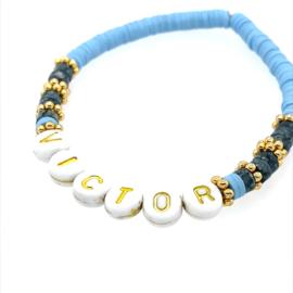 Naam armbandje - natuursteen - baby blauw