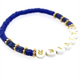 Naam armbandje - natuursteen - donkerblauw