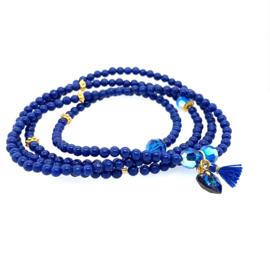 Jade ketting donkerblauw
