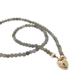 Labradoriet ketting - Padlock hart - 9 karaat