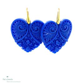 Heart blauw statement oorbellen