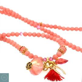 Jade Ketting roze/ goudkleur