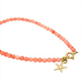 Armbandje Coral  roze met zeester