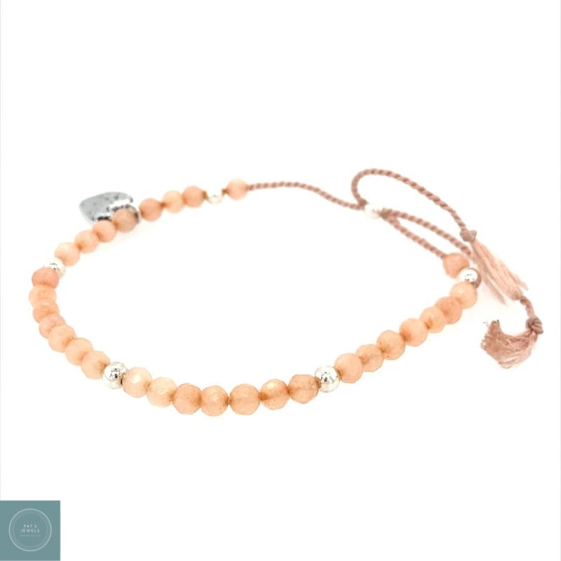 Peach silk armband (zilver)