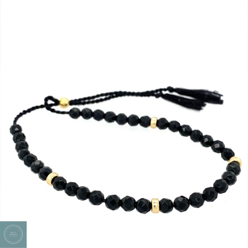 Black silk armband (goud)