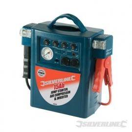 Jumpstarter, compressor en omvormer in één