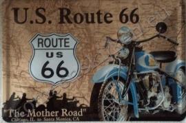 metalen reclamebord van route 66  30 bij 40 cm