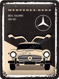 metalen reclamebord Mercedes 300 SL Gullwing 15-20 cm