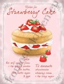 metalen wandplaat strawberry cake 30-40 cm