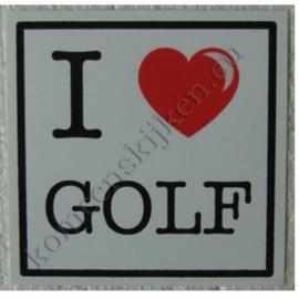 sticker I love golf 10,5 cm.