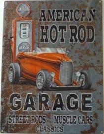 metalen wandplaat  hotrod garage 30-40 cm