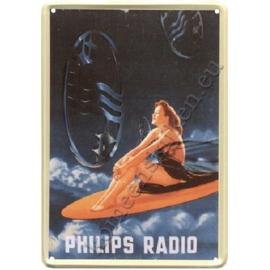 metalen wandplaat Philips radio dame surfboard 20-30 cm