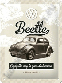 metalen ansichtkaart VW beetle think small 10-14 cm