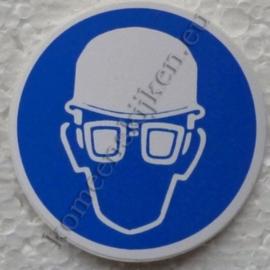 sticker veiligheidshelm en veiligheidsbril  5 cm