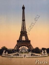 Metalen ansichtkaart Eiffeltoren 15x21 cm