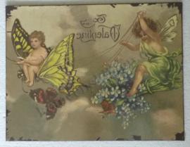 wandbord vlinder en engeltjes 35-27 cm
