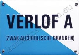 metalen wandbord Verlof A (zwak-alcholische dranken) 10-14 cm