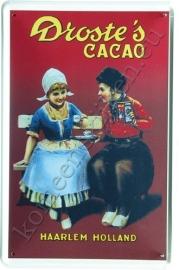 metalen ansichtkaart droste cacao  rood 10-14 cm