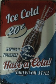 blikken reclamebord ice cold cola 20-30 cm